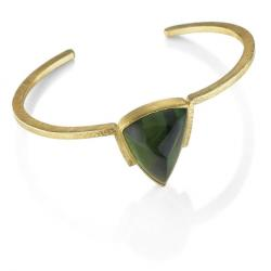 V Cuff in Gold with Tourmaline