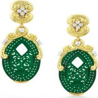 openwork carved jade, brilliant-cut diamonds, hammered 18k gold, and platinum earrings
