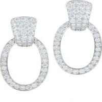 brilliant-cut diamonds, 18k gold, and platinum earrings