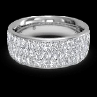 Women's triple micropavé diamond wedding ring