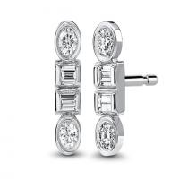 Round and baguette diamond stud earrings