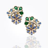 18k cluster earrings with royal blue moonstone and diamond...