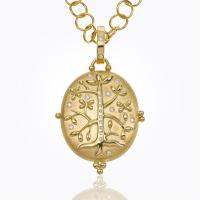 18k swan coin pendant with diamond