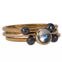 Rogue wave 18k gold/moonstone stacking rings