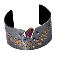 tara hutch 24k gold cuff with pink tourmaline and pink sapphires