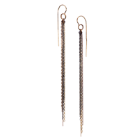 Glossy black silver & mixed gold long chain earrings