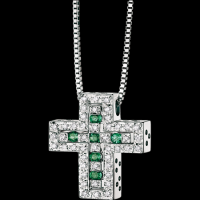 White gold, diamond and emerald cross necklace
