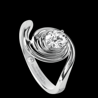 Damiani Promise Rings – White Gold Solitaire Ring