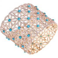 Cuff in rose gold diamonds and turquoises