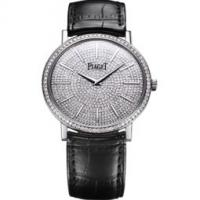 Ultra-thin watch mechanical white gold diamonds 38 mm