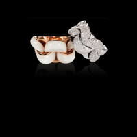 chimento rose gold ring with white mother-of-pearl  & other