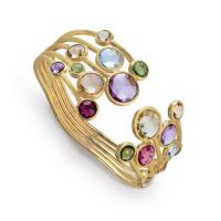 Jaipur mixed gemstones five row bangle