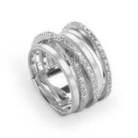 Marco Bicego Goa Seven Strand Crossover Pave Diamond Ring In White Gold