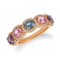 14K Strawberry Gold® Multi-Color Spinel 1  3/4 cts. Ring with Vanilla Diamonds® 1/3 cts.
