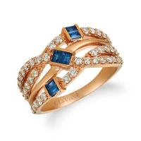 14k strawberry gold® blueberry sapphire™ 3/8 cts. ring with nude diamonds™ 3/4 cts.