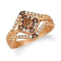 14k strawberry gold® ring with chocolate diamonds® 3/8 cts., nude diamonds™ 1/4 cts.