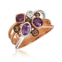 14k two tone gold grape amethyst™ 1 cts. ring with chocolate diamonds® 1/6 cts., vanilla diamonds® 1/10 cts.