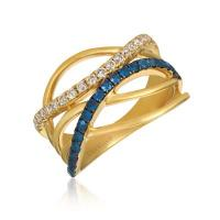 14k honey gold™ blueberry sapphire™ 3/8 cts. ring with nude diamonds™ 1/3 cts.