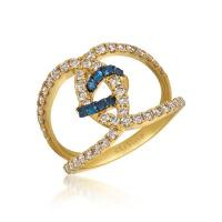 14k honey gold™ blueberry sapphire™ 1/6 cts. ring with nude diamonds™ 7/8 cts.