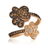 14k strawberry gold® ring with chocolate diamonds® 1/2 cts., nude diamonds™ 1/10 cts.