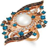 14k strawberry gold® vanilla topaz™ 3/4 cts., deep sea blue topaz™ 1  1/3 cts., chocolate quartz® 5/8 cts., vanilla pearls™  cts. ring