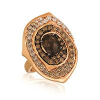14k strawberry gold® chocolate quartz® 1 cts. ring with ombre chocolate diamonds® 1  3/8 cts.