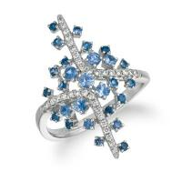 14k vanilla gold® blueberry sapphire™ 5/8 cts. ring with vanilla diamonds® 1/5 cts.