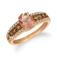 14k strawberry gold® peach morganite™ 7/8 cts. ring with chocolate diamonds® 1/3 cts., nude diamonds™ 1/5 cts.