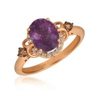 14k strawberry gold® grape amethyst™ 1  1/2 cts. ring with chocolate diamonds® 1/15 cts., nude diamonds™ 1/8 cts.