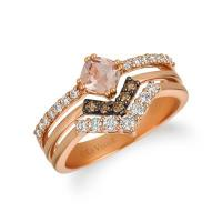 14k strawberry gold® peach morganite™ 3/8 cts. ring with nude diamonds™ 3/8 cts., chocolate diamonds® 1/10 cts.
