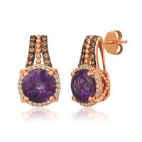 14k strawberry gold® grape amethyst™ 3 cts. earrings with chocolate diamonds® 1/5 cts., vanilla diamonds® 1/5 cts.