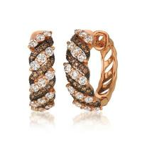 14k strawberry gold® earrings with nude diamonds™ 1  1/3 cts., chocolate diamonds® 1/3 cts.