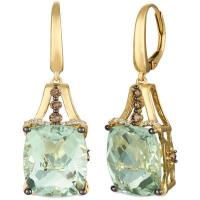 14k honey gold™ mint julep quartz™ 12 cts. earrings with chocolate diamonds® 1/3 cts., vanilla diamonds® 1/20 cts.