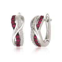14k vanilla gold® passion ruby™ 1/4 cts. earrings with vanilla diamonds® 1/8 cts.