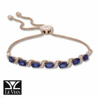 14k strawberry gold® blueberry sapphire™ 3  1/2 cts. bolo bracelet with vanilla diamonds® 1/10 cts.