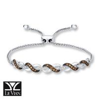 14k vanilla gold® bolo bracelet with chocolate diamonds® 1/3 cts., vanilla diamonds® 1/10 cts.