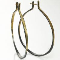 splash hoop earrings in sterling silver and gold