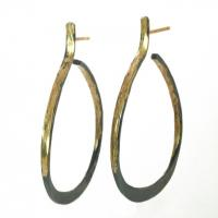 black forged hoops in gold and silver