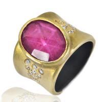 pink sapphire and diamond corset ring