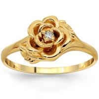 10K Solid Yellow Gold Womens Diamond Flower Ring 0.05 Ctw
