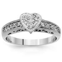 14K Solid White Gold Womens Diamond Heart Ring 0.39 Ctw