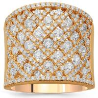14K Solid Rose Gold Womens Diamond Cocktail Ring 2.79 Ctw