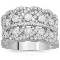 14k solid white gold womens diamond cocktail ring 2.52 ctw