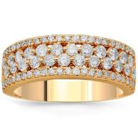 14K Solid Rose Gold Womens Diamond Cocktail Ring 1.12 Ctw