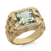 Solitaire Princess Cut Green Amethyst and Diamond Large Gemstone Ring in Yellow Solid Gold