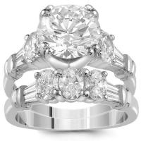 Unique platinum egl certified diamond bridal ring set 5.00 ctw