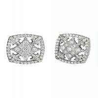 White gold diamond cascata fleur de lis earrings