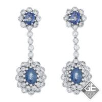14k White Gold Sapphire Dangling Earrings with Round Brilliant Cut Diamonds