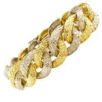 French 1980s Two Tone Gold Curbed Link Bracelet