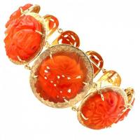 Unique Carved Carnelian and Gold Bracelet
